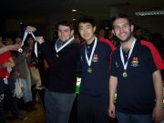 Three of the team members, Rob, Cheng and Aaron (from left) with their bronze medals