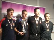 Markus Frembs (left) collects his individual bronze medal at the UPC Nine-ball Pool Championships.